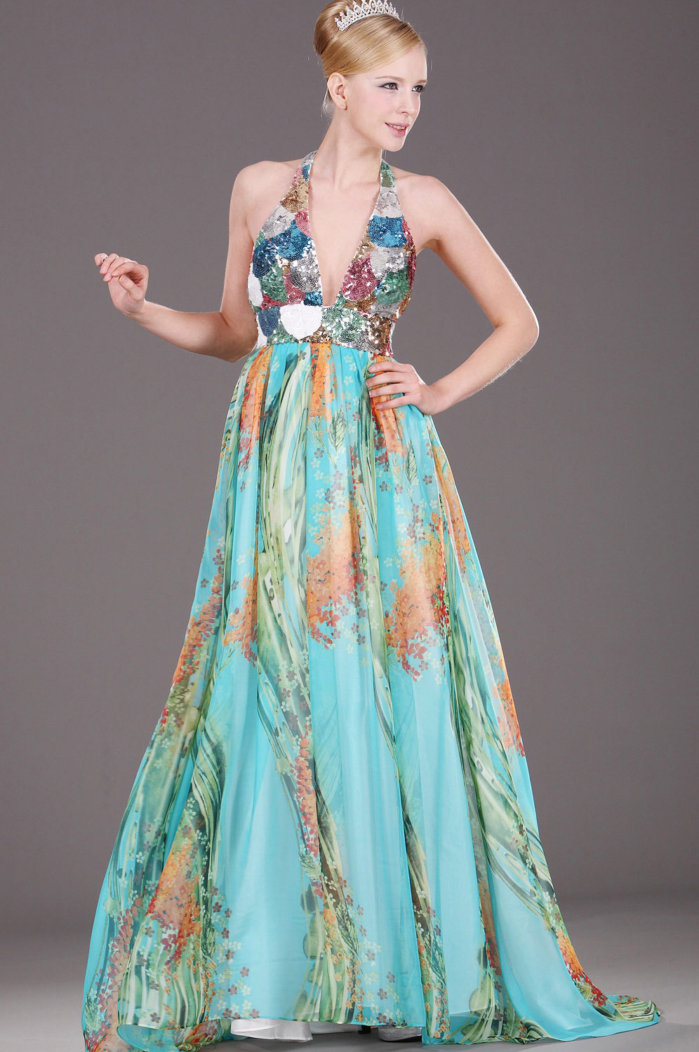 eDressit Halter Floral Evening Dress (00091905)
