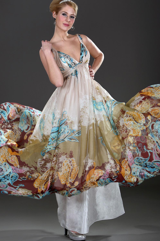 Robe de Soirée Imprimé Taille Empire Décolleté-V (00098568)