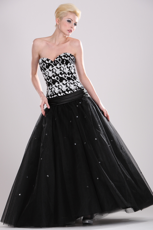 eDressit Trägerlos  Elegant Schwarz leuchtend Perlen Ballkleid (28100100)