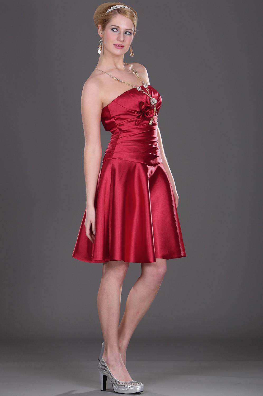 eDressit Trägerlos  Elegant Rot Blume  Brautjunferdkleid (07101402)