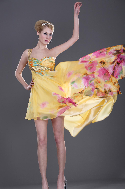 eDressit Asimètrico Floral Vestido de Noche Amarrillo (00099403)