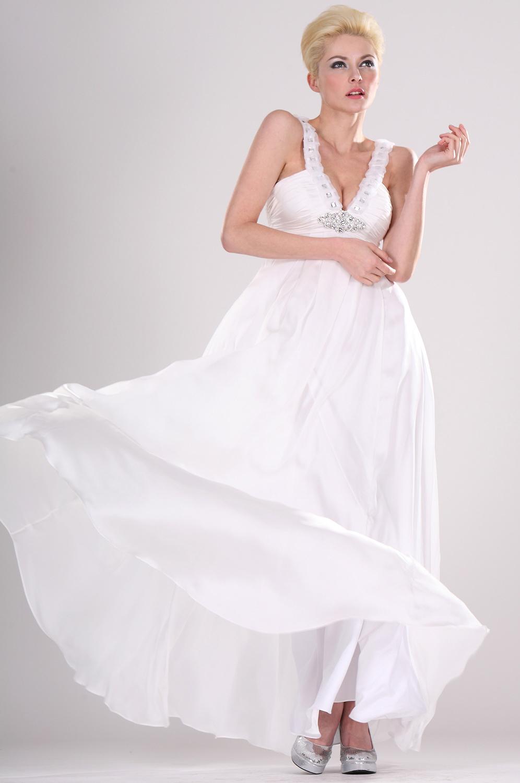 eDressit V-Träger  Elegant Weiß Abendkleid (00104307)
