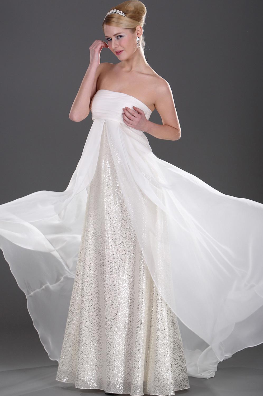 eDressit Trägerlos  scharmant  Weiß Gold Abendkleid (00103714)