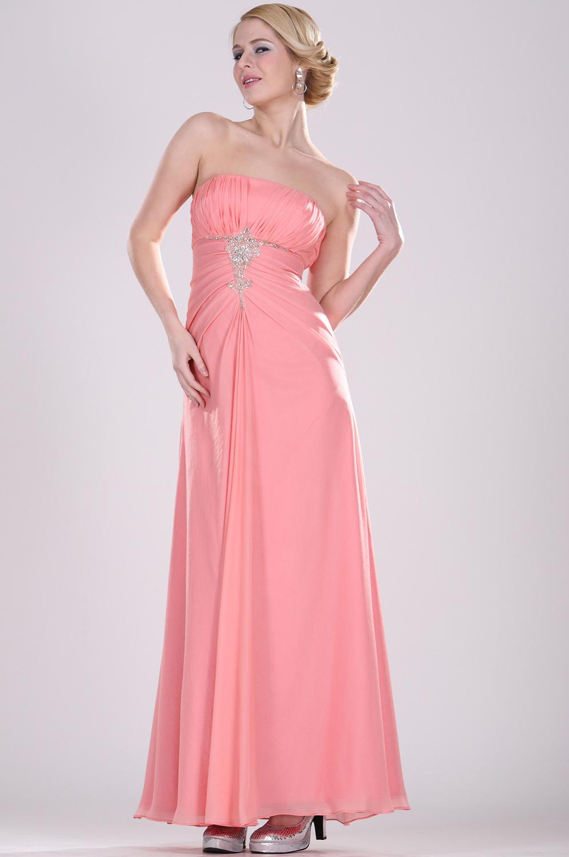 eDressit Trägerlos  Perlen  Abendkleid lang (07100101)