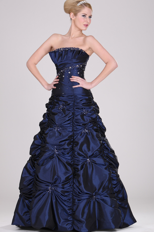 eDressit Trägerlos  Elegant großartig Blau Perlen Ballkleid (28101105)