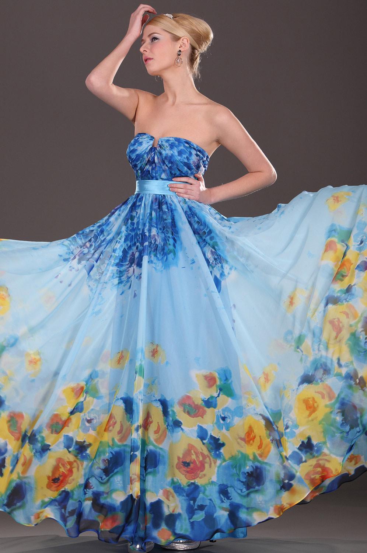 eDressit Floral Vestido de Noche Sin Tirante Azul Girasol (00092105)