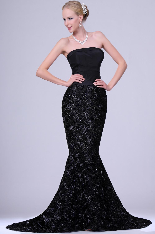 eDressit New Elegant Black Strapless Gown with Train (00109700)