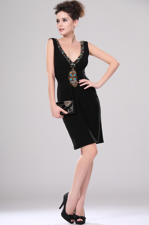 eDressit Sexy Schwarz Tief Ausschnitt Perlen Cocktail Kleid (04113100)