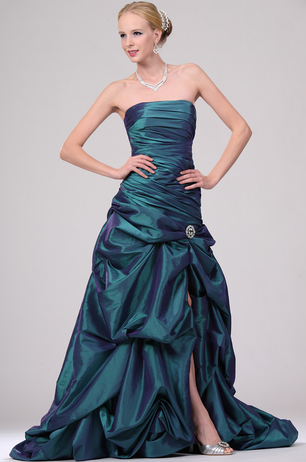 eDressit New Pleated Strapless Prom Gown with Split (00109804)