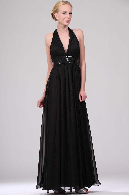 eDressit Negro Cabestro Vestido de noche Elegante Simple (00110500)