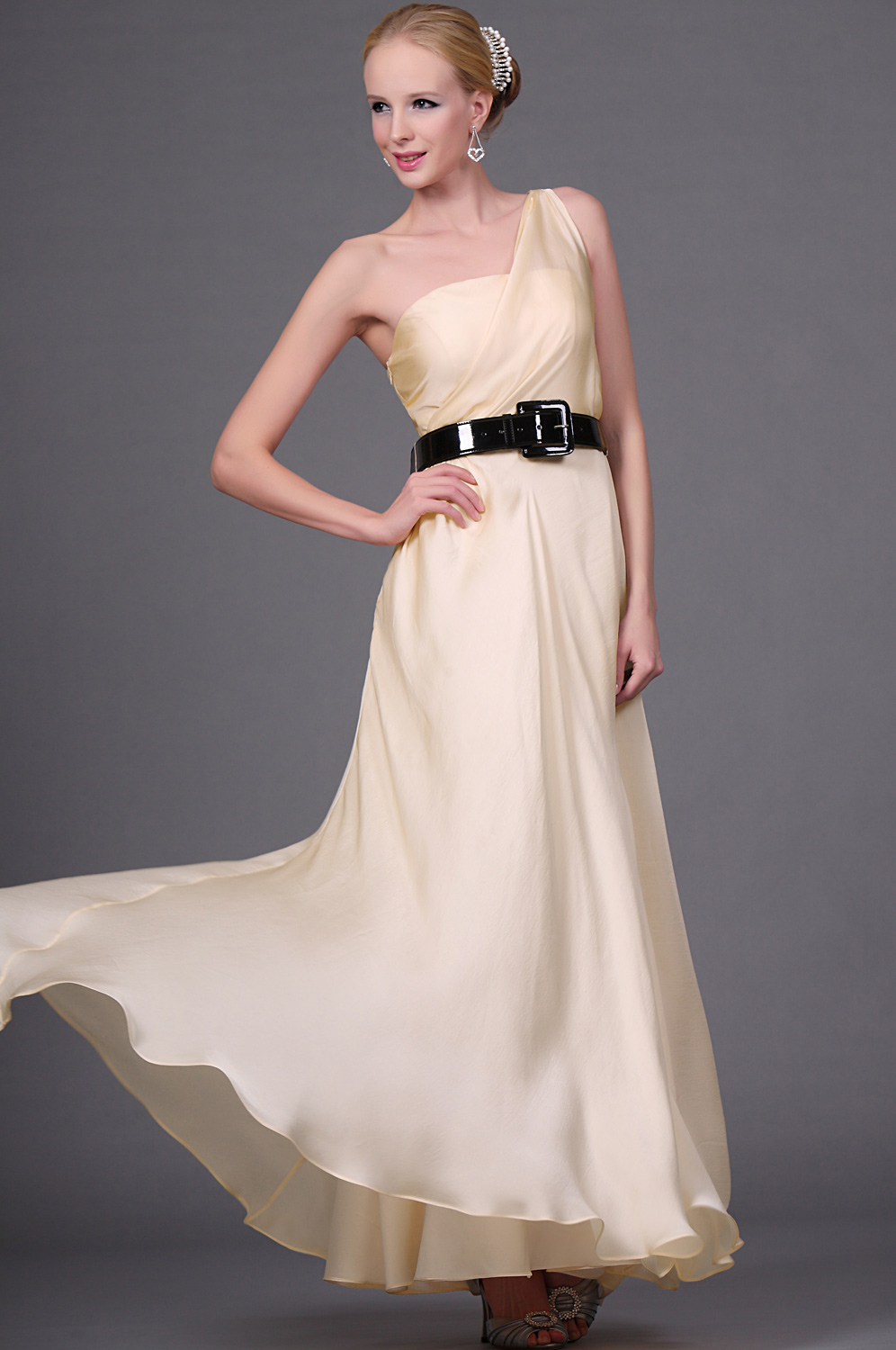 eDressit  New Elegant One Shoulder Evening Dress with Black Belt (00111214)