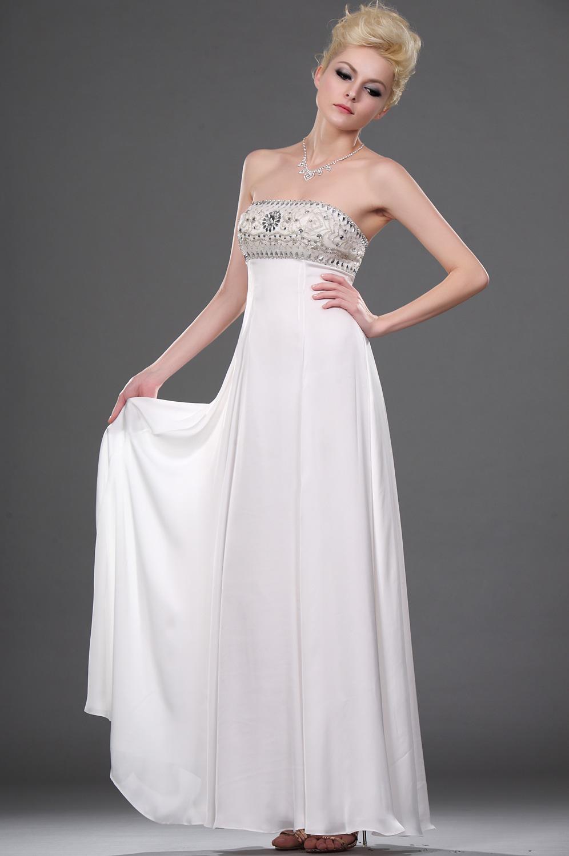 eDressit новое белое вечернее платье без бретелек с бисером (00111707)