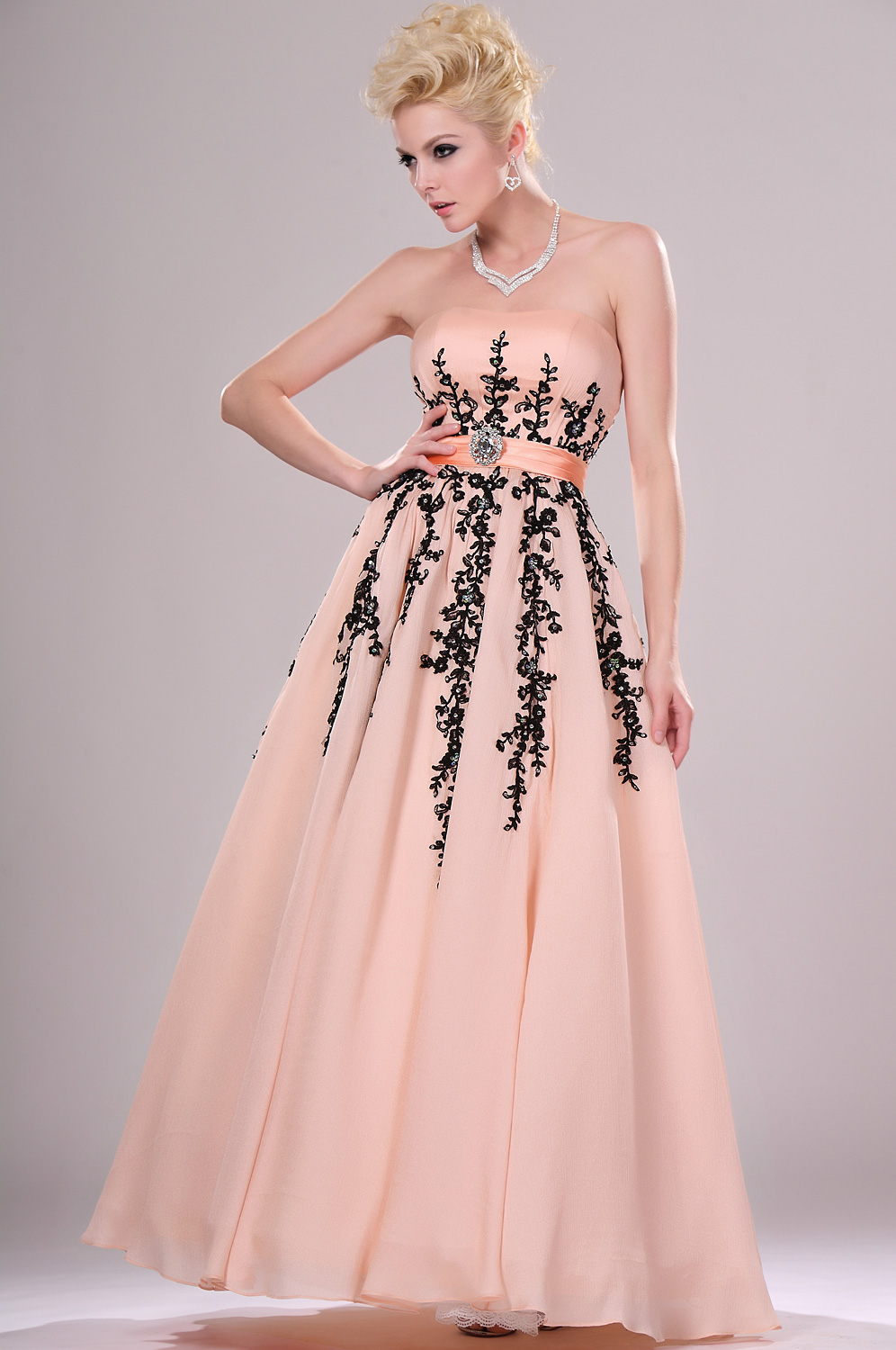 eDressit Appealing Strapless Evening Gown with Lace (00115501)