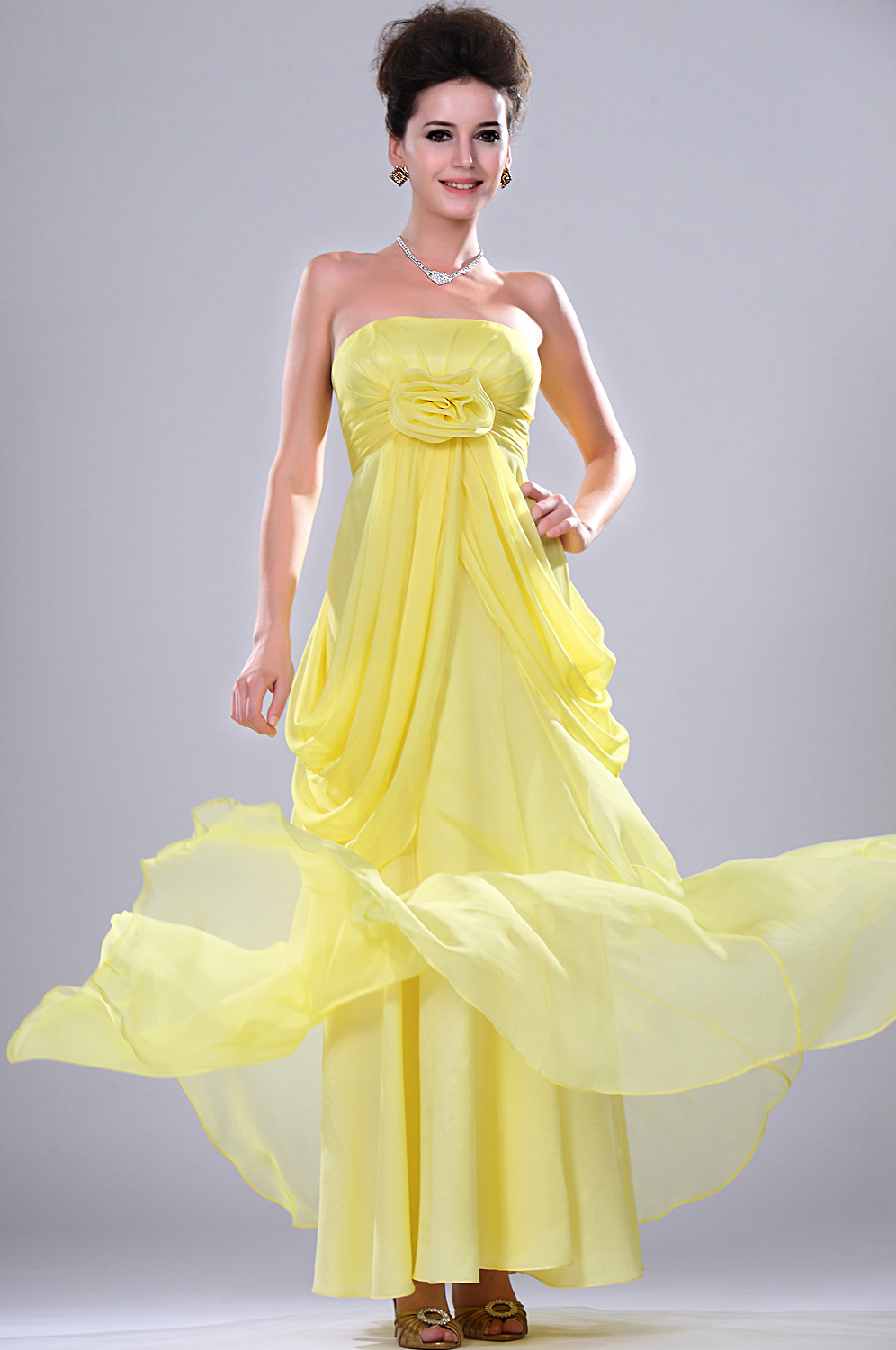 eDressit New Bright Yellow Strapless Evening Dress (00112403)