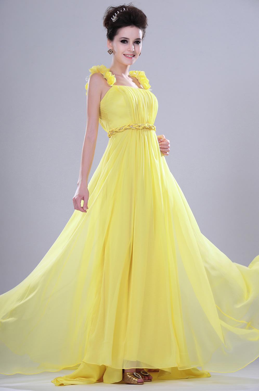 eDressit leuchtend einladend  gelb Abendkleid mit Blumen Traeger (00113103)