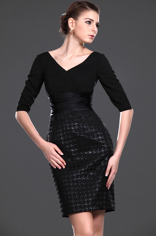 eDressit New Charming Black V-neck Mother of the Bride Dress (26112900)