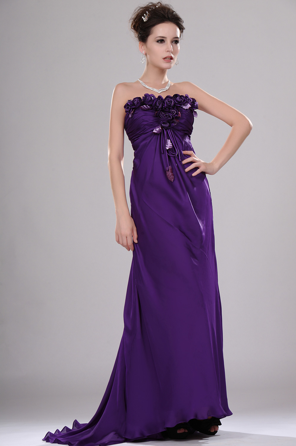 eDressit New Elegant Strapless Evening Dress with Flowers (00115706)