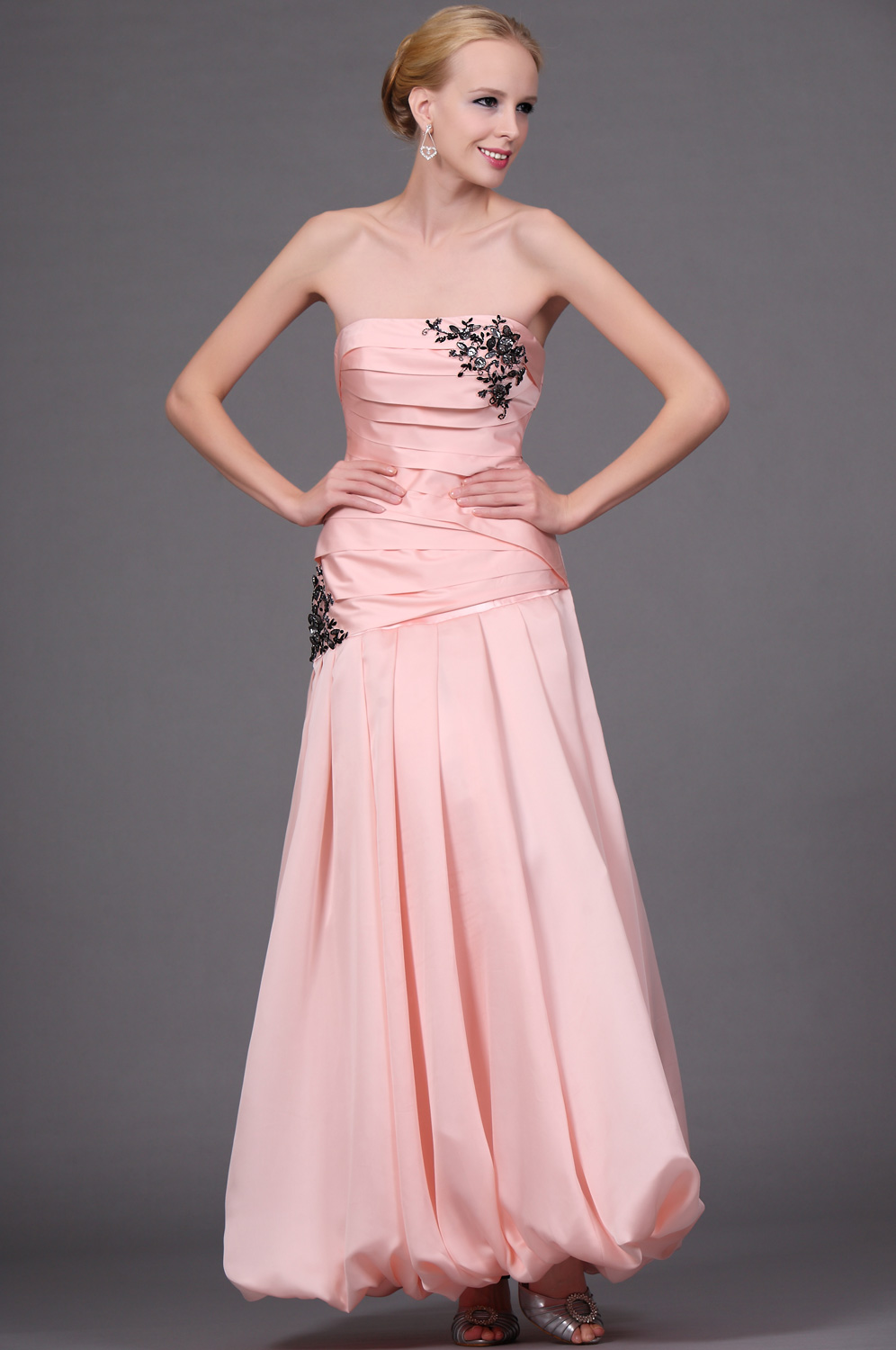 eDressit  New Pink Strapless Ruched Evening Dress (00110901)