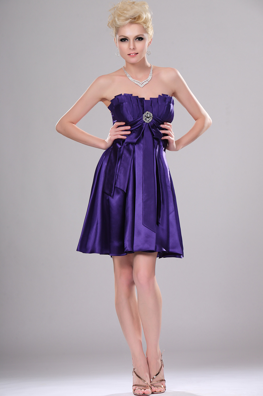 eDressit Stylish Strapless Pleated Cocktail Dress (04114006)