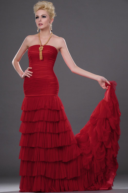 eDressit Attractivo Rojo Sin tirante Maravilloso  vestido de Noche /Fiesta (00112102)