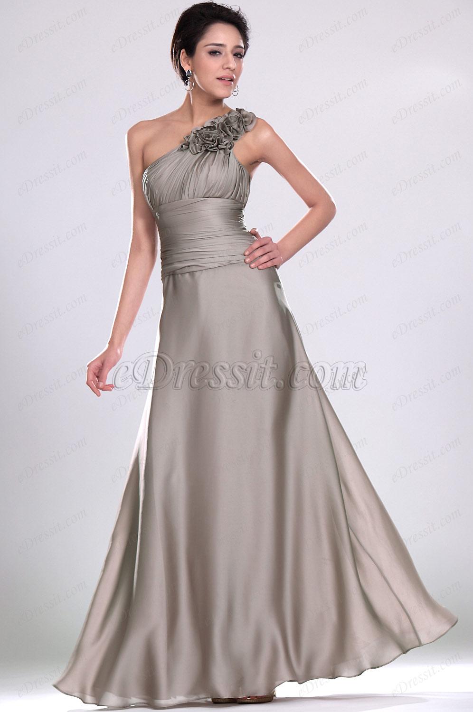 eDressit De estilo Solo hombro vestido de Noche Gris (00118408)