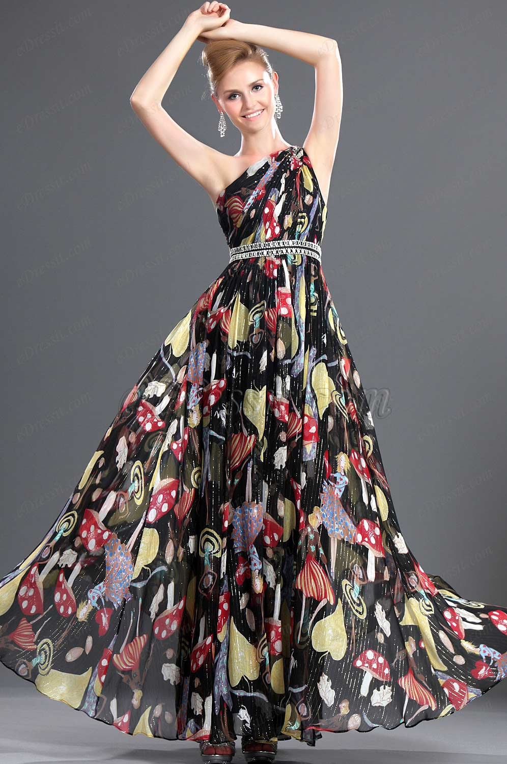 eDressit New Elegant One Shoulder 100% Silk Evening Dress (00094400)