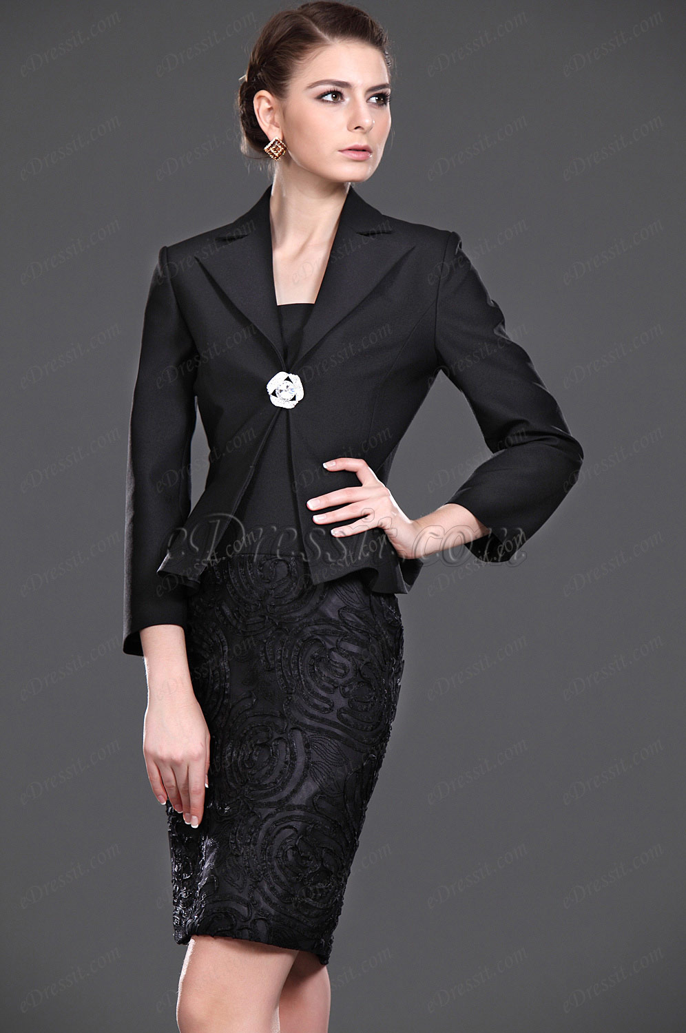 eDressit New Black Elegant Two Pieces Mother of the Bride Dress (26113600)