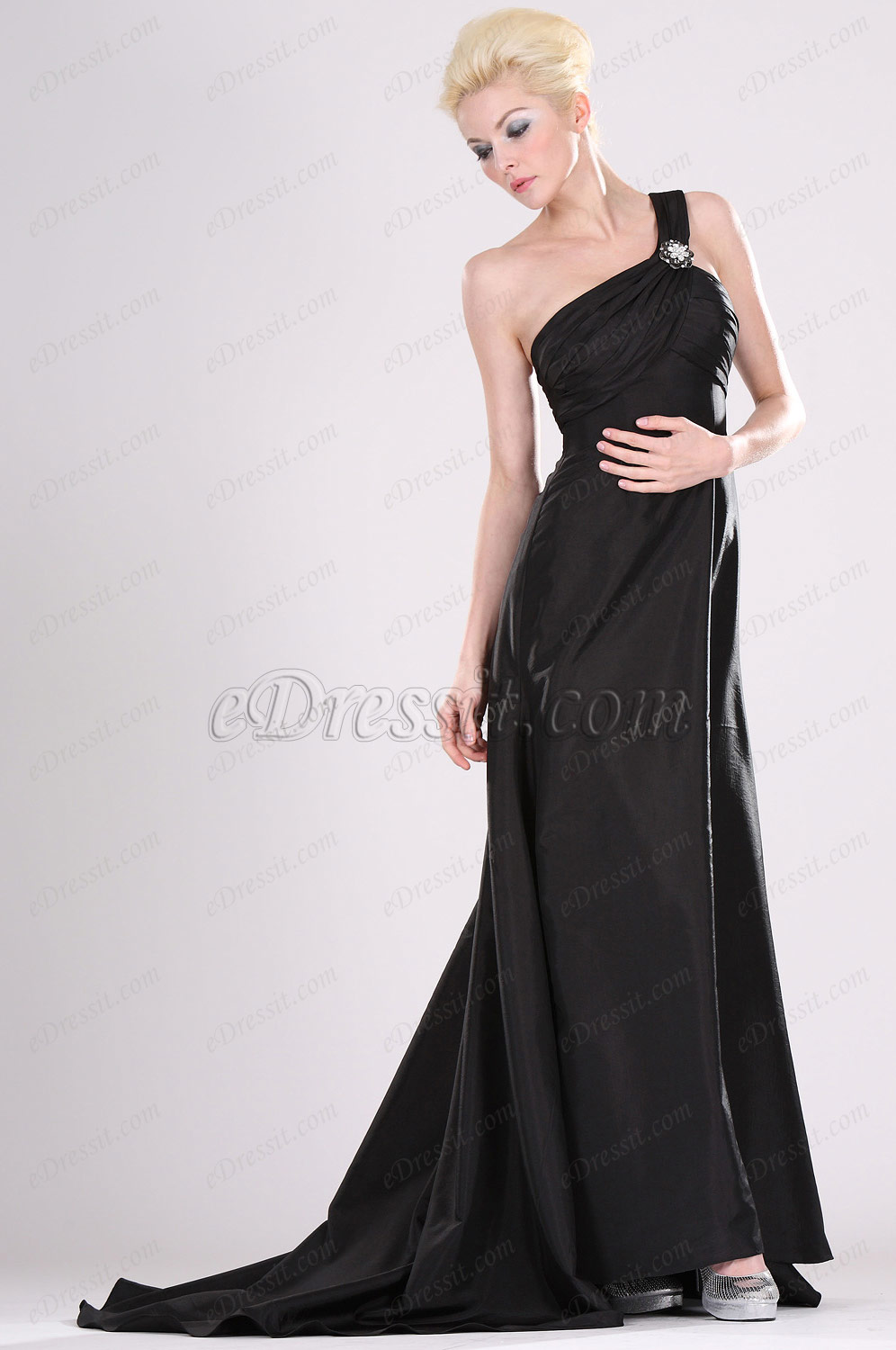 Clearance Sale! eDressit One-shoulder Black Prom Gown--Plus Size (00103800b)