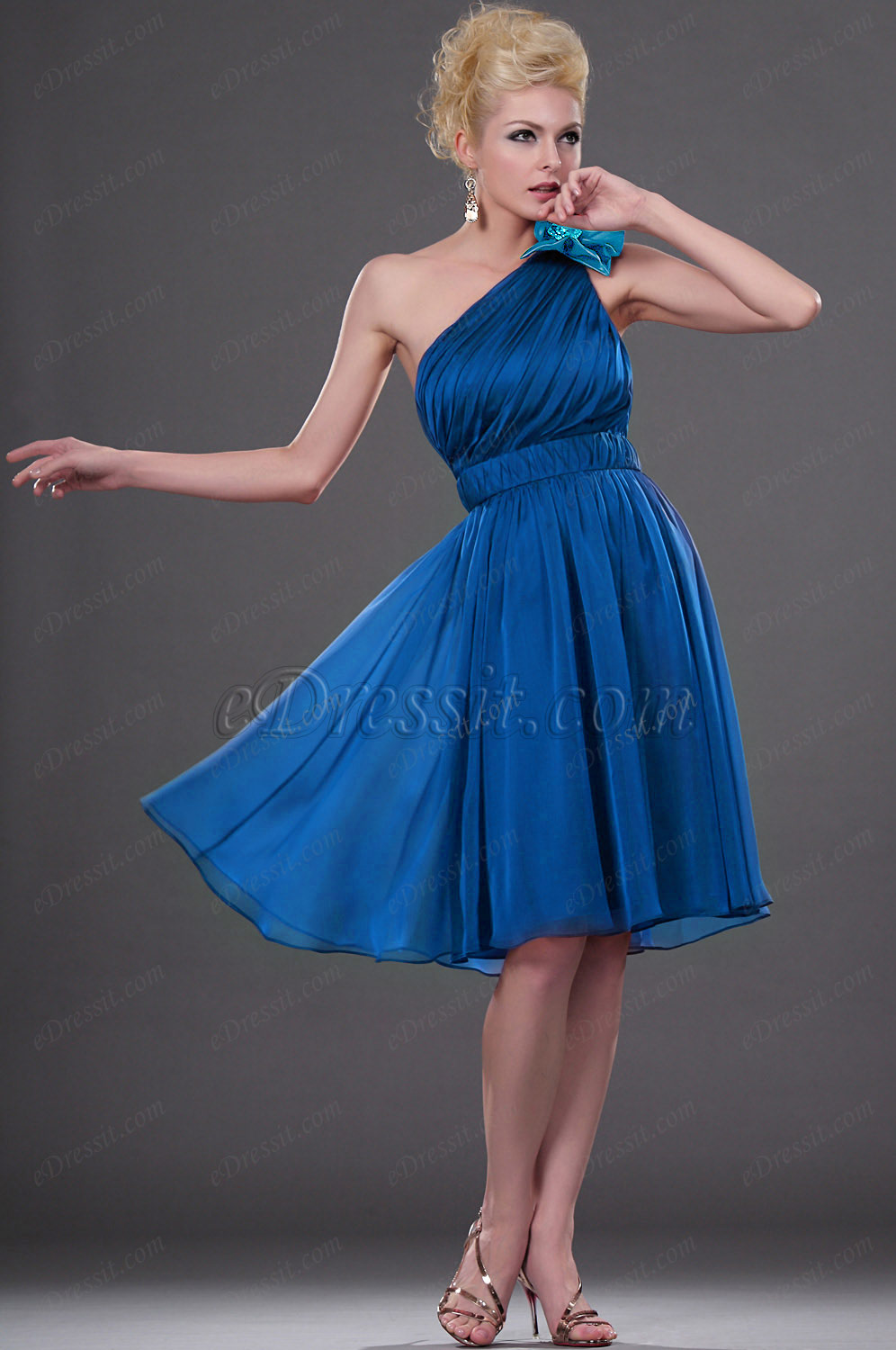 Clearance Sale !  eDressit Blue One-shoulder Cocktail Dress --Size UK8 (04111317b)