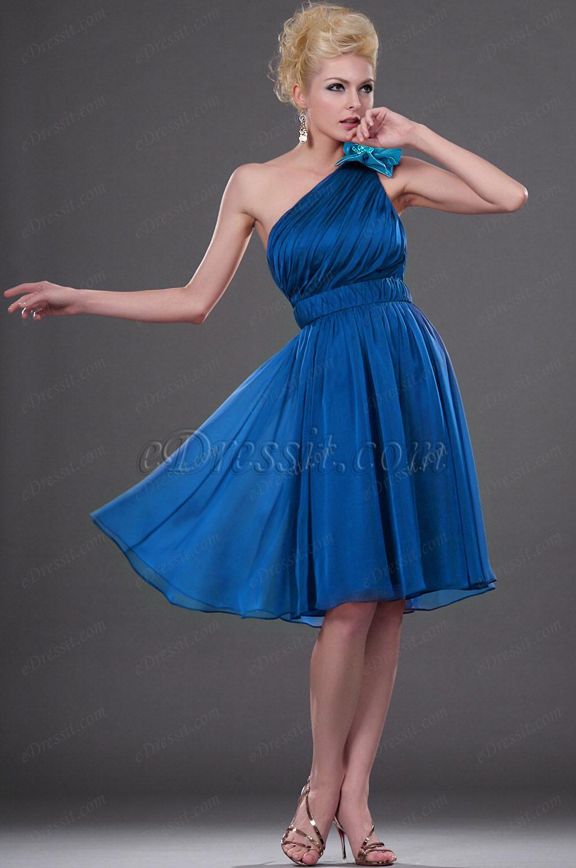 Clearance Sale !  eDressit Blue One-shoulder Cocktail Dress --Size UK8 (04111317b)