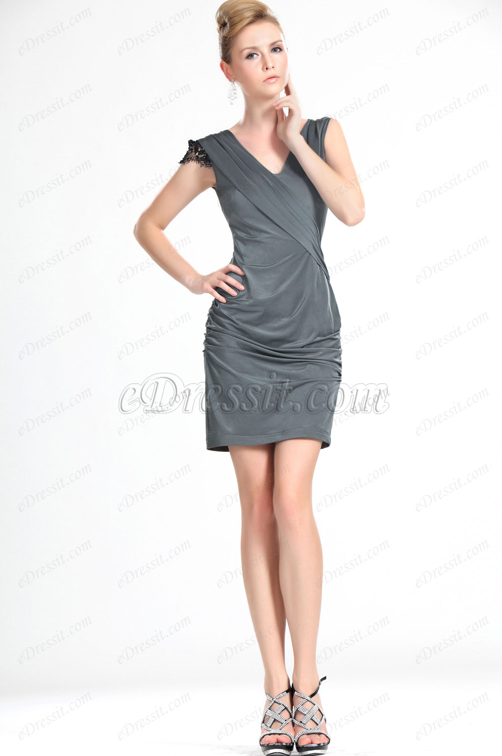 eDressit Stylish Lace Sleeve Grey Lady Day Dress (03112608)