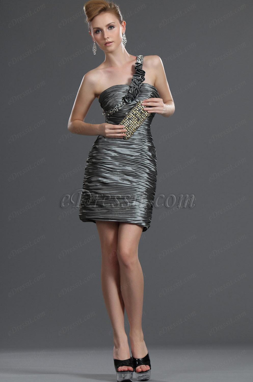 eDressit Bretelle Seule Plissé Robe de Cocktail (35110508)