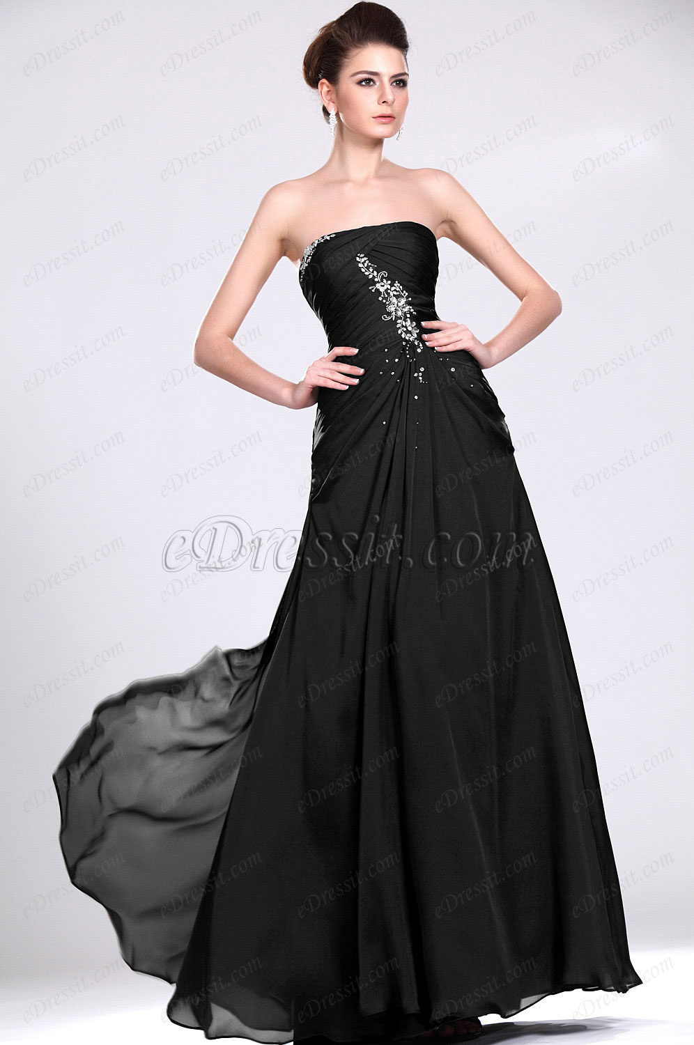 Clearance Sale! eDressit Black Strapless Evening Dress--Size UK16 (00117505b)