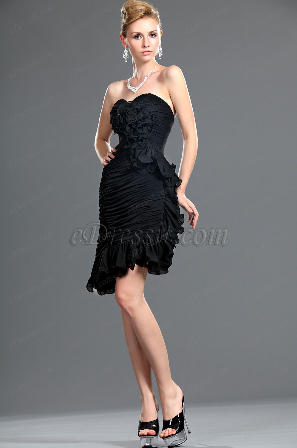eDressit New Black Strapless Fitted Party Dress (35111200)