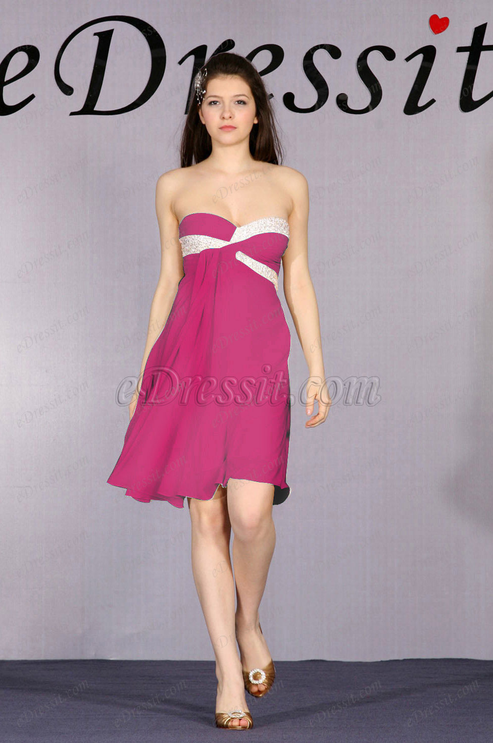 Clearance Sale! eDressit Pink Cocktail Dress --Size UK16 (04091814d)