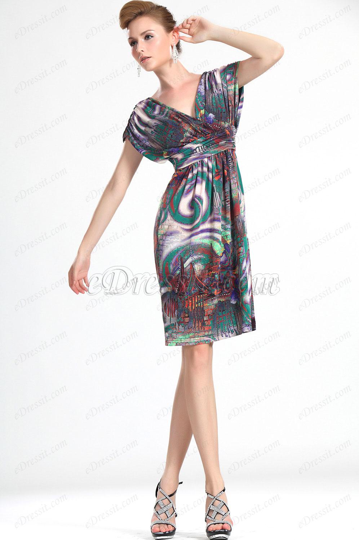 eDressit Nuevo De Moda  Floral Escote en V Vestido de Día (03112268)