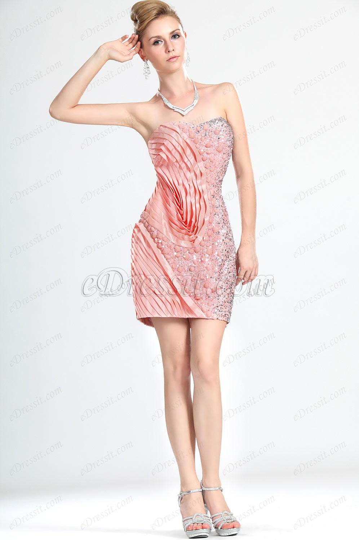 eDressit Novedad Sin Tirante Adorado Rosado Corto Vestido de Fiesta/Gala Vestido de Coctel (35110701)