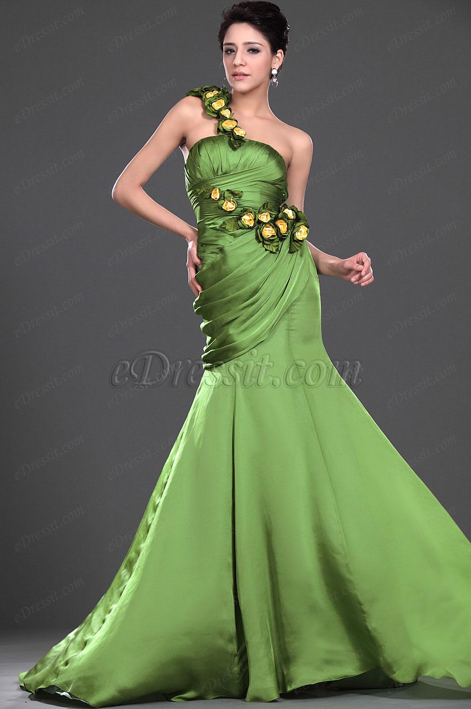 eDressit  De moda Con adornos florales Vestido de noche Verde (00110103)