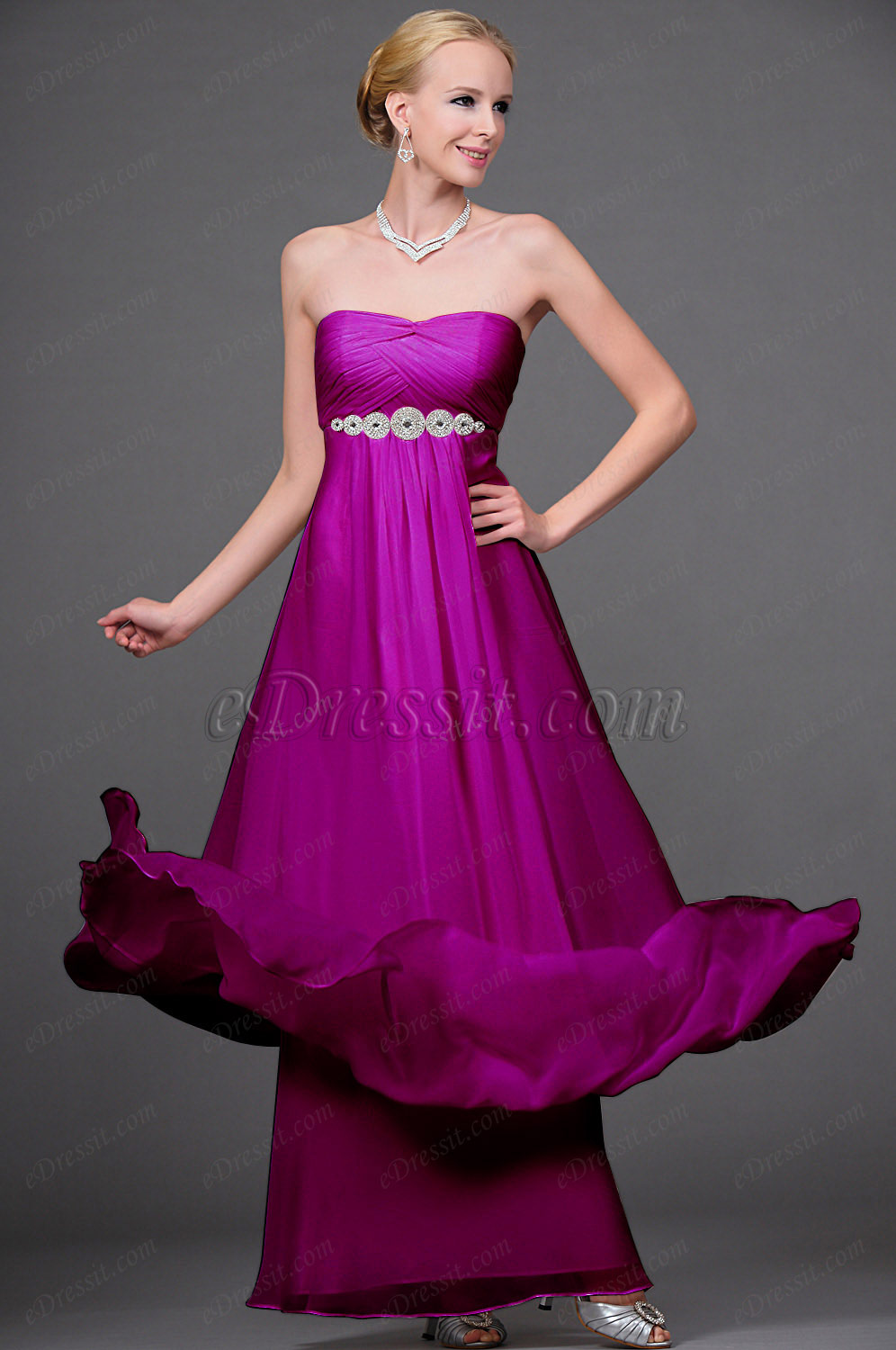 Clearance Sale! eDressit Pink Strapless Evening Dress--Size UK12 (00111607b)