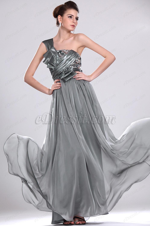 eDressit Maravilloso Gris Solo Tirante Vestido de Noche (00118508)
