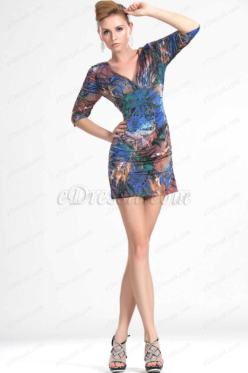 eDressit New Fashionable Floral Deep V-Neck Outfit Day Dress (03112168)