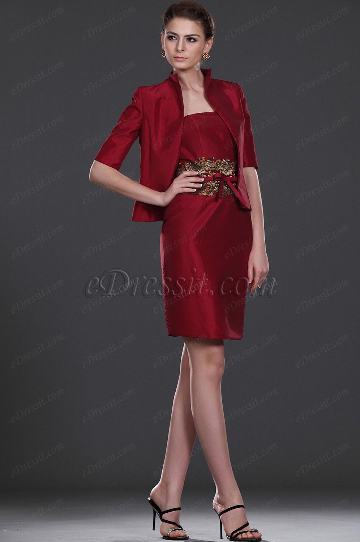 eDressit Elegante Deux Pièce Robe de Maman Rouge (26112202)