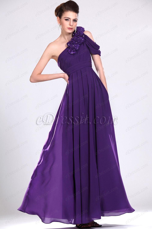 eDressit Recien llegado Atractivo Violado Vestido de Noche Vestido largo Solo hombro (00116306)
