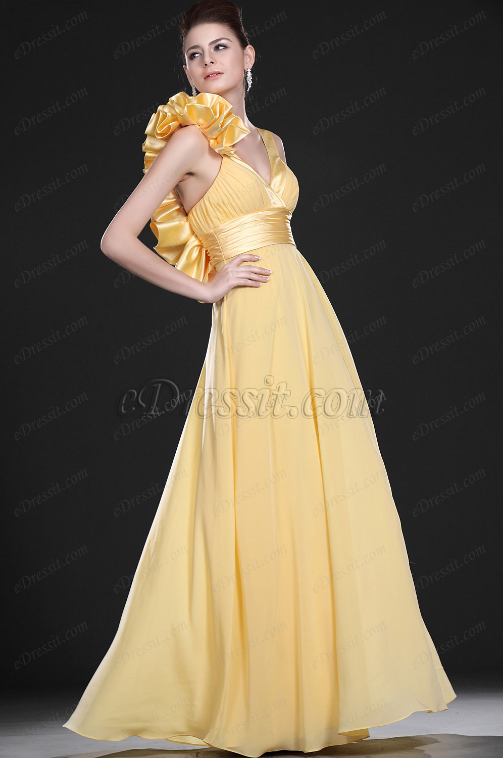 eDressit New Bright Stylish Yellow Evening Dress (00118603)