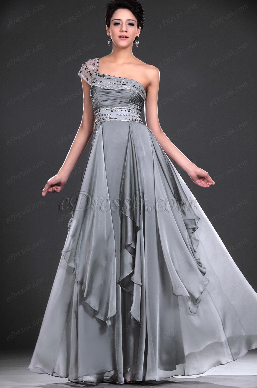 eDressit Neu Reizend Ein-Schulter Grau Abendkleid (00118208)