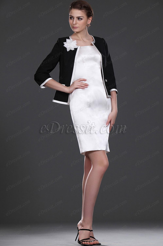 eDressit Novedad De moda Dos piezas Clasico Vestido Negro y blanco Vestido de dama (26113207)