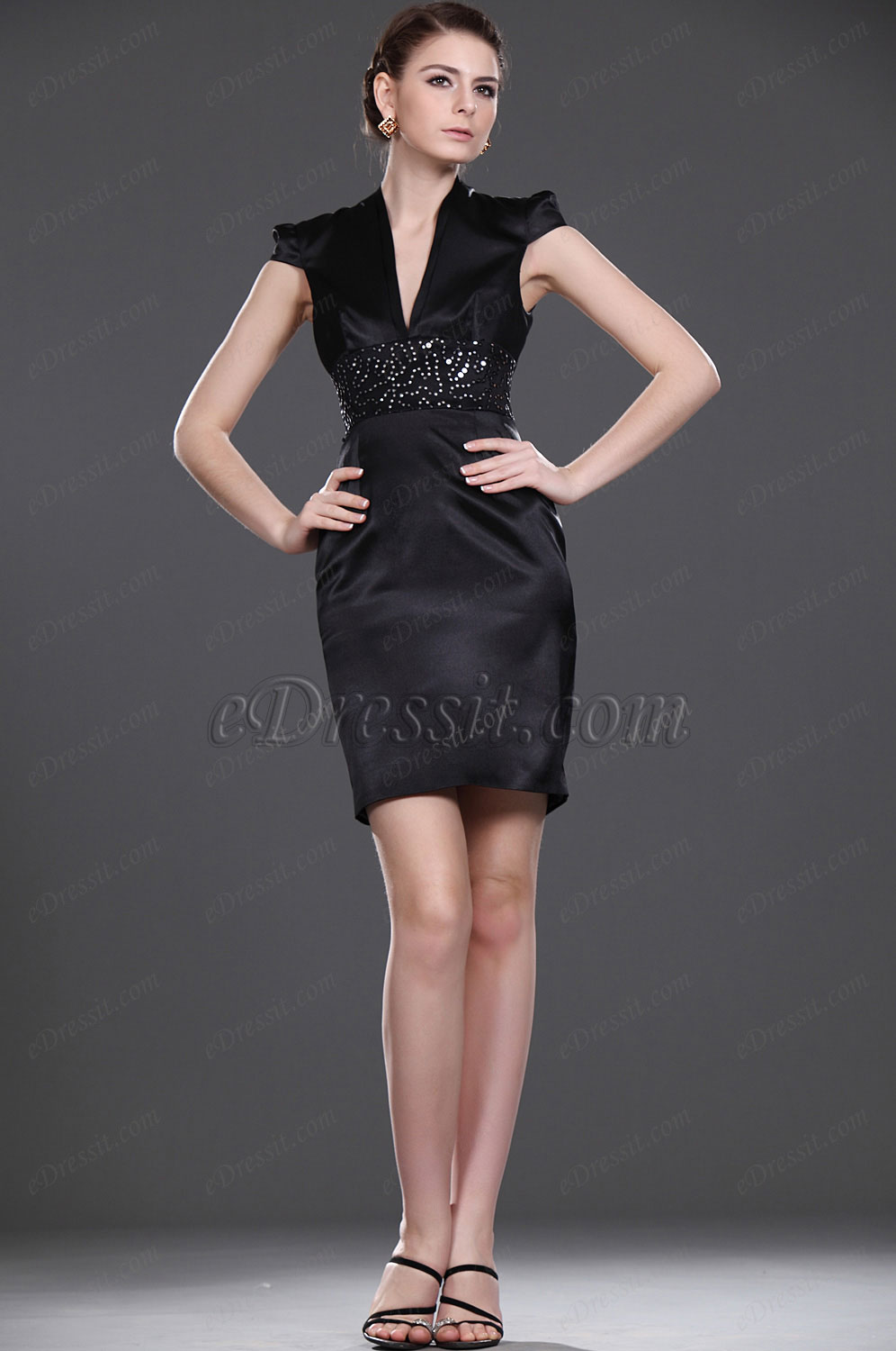eDressit  New Sexy Little Black V-neck Party Dress (04114500)