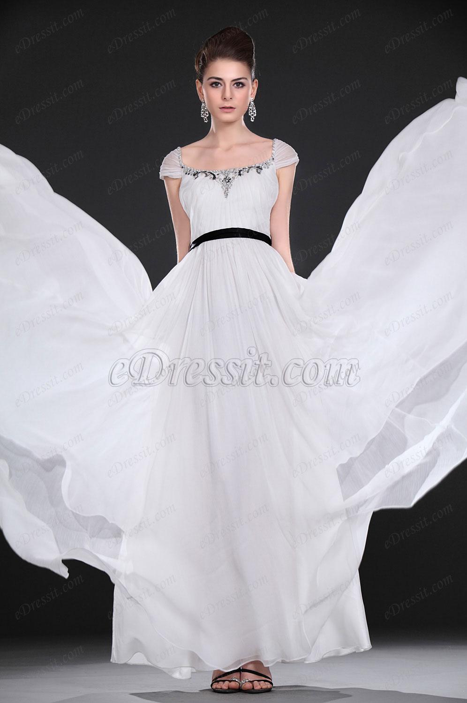 eDressit новое элегантное белое вечернее платье с бисером (00116707)