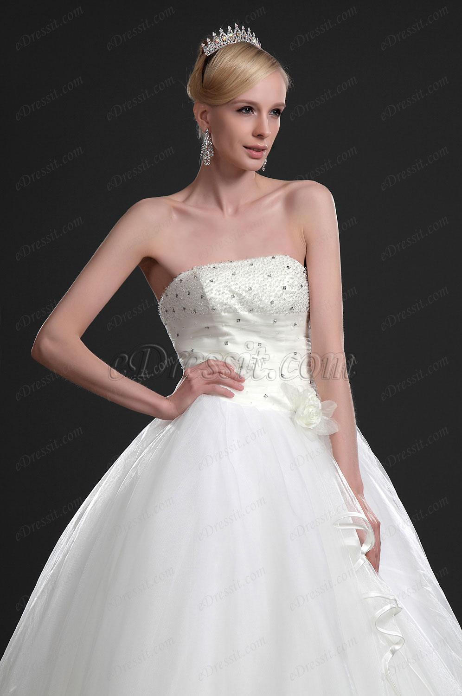 eDressit Удивительное свадебное платье без бретелек с бисером (01113513)