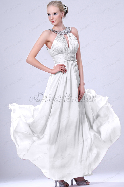 Clearance Sale ! eDressit White Evening Dress--Size UK10 (00102446b)
